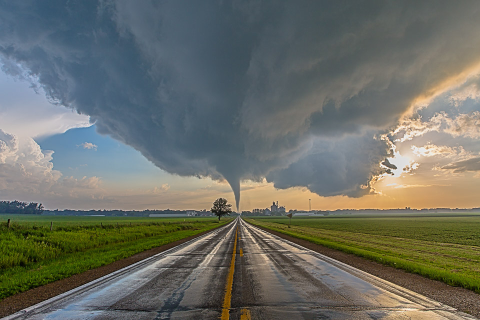 "A tornado crosses the road behind the town of Reinbeck, IA on July 6th 2014 (Max Size: 48"", AR: .67, H)"